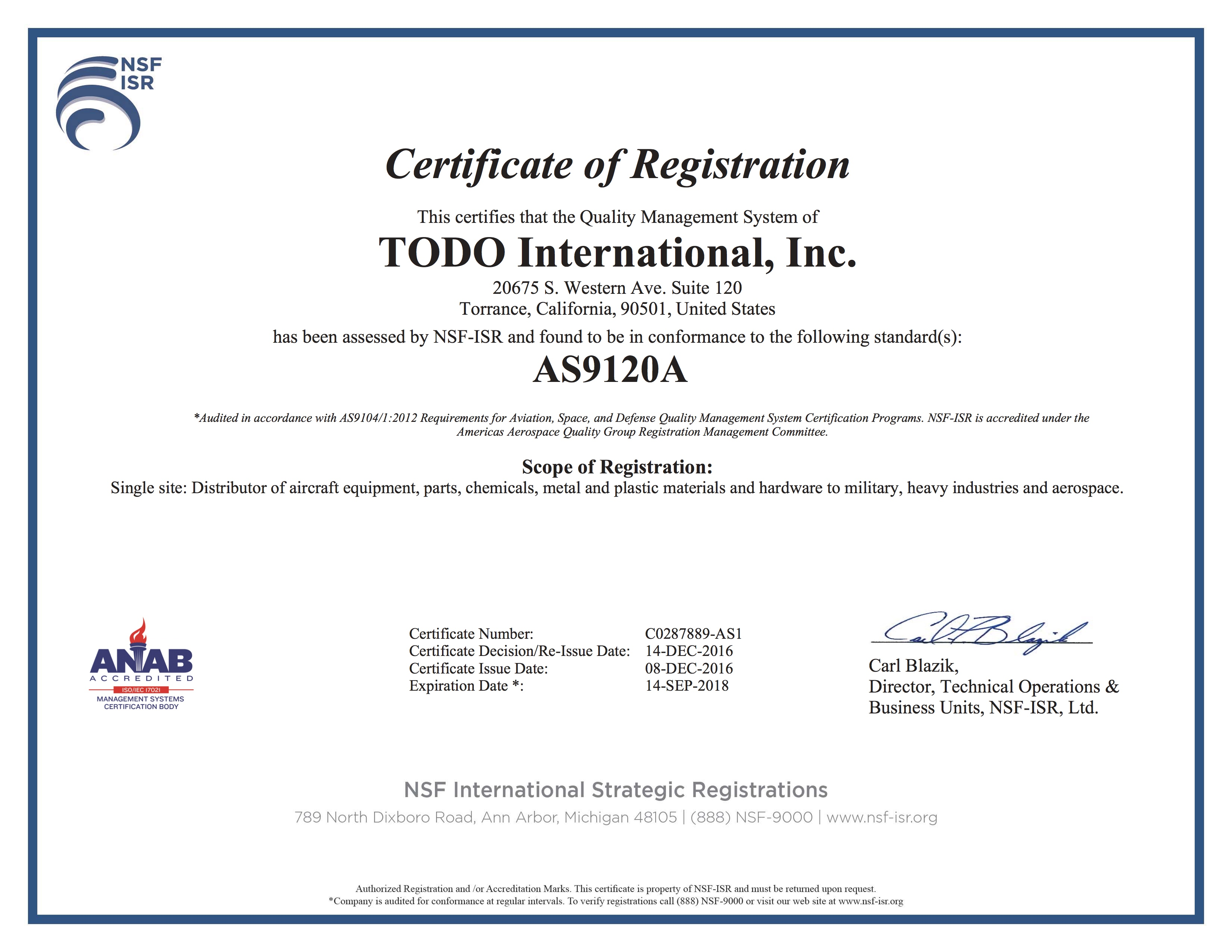 Iso certification announcement todo usa 1betcityfo Choice Image